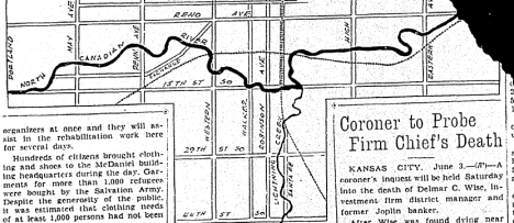 Map of the area affected by the flood.